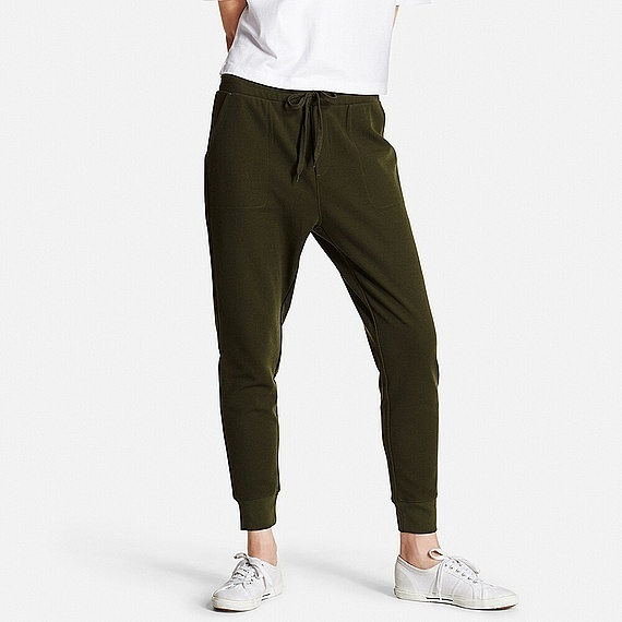 Women Milano Rib Cut And Sewn Jogger Pants (5 Colours) Dark Green - pattern: plain; style: peg leg; waist detail: belted waist/tie at waist/drawstring; waist: mid/regular rise; predominant colour: dark green; occasions: casual; length: ankle length; fibres: cotton - stretch; fit: tapered; pattern type: fabric; texture group: jersey - stretchy/drapey; season: s/s 2016; wardrobe: highlight