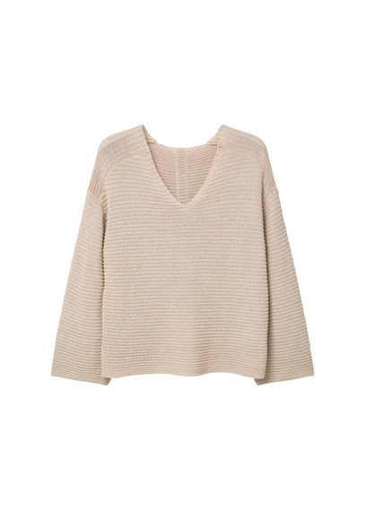 Textured Cotton Sweater - neckline: v-neck; pattern: plain; style: standard; predominant colour: nude; occasions: casual; length: standard; fibres: cotton - 100%; fit: slim fit; sleeve length: long sleeve; sleeve style: standard; texture group: knits/crochet; pattern type: fabric; season: s/s 2016; wardrobe: basic