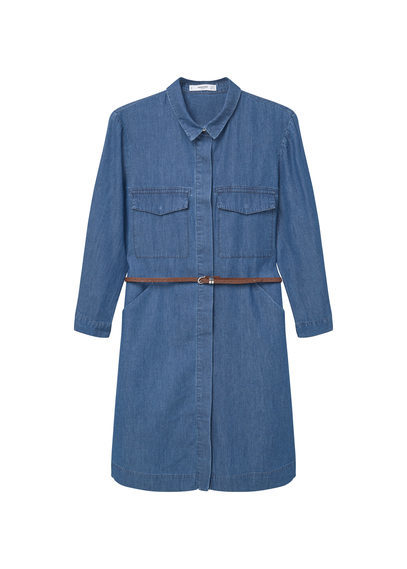 Denim Shirt Dress - style: shirt; length: mid thigh; neckline: shirt collar/peter pan/zip with opening; pattern: plain; waist detail: belted waist/tie at waist/drawstring; predominant colour: denim; occasions: casual, creative work; fit: straight cut; fibres: cotton - 100%; sleeve length: long sleeve; sleeve style: standard; texture group: denim; pattern type: fabric; season: s/s 2016; wardrobe: basic