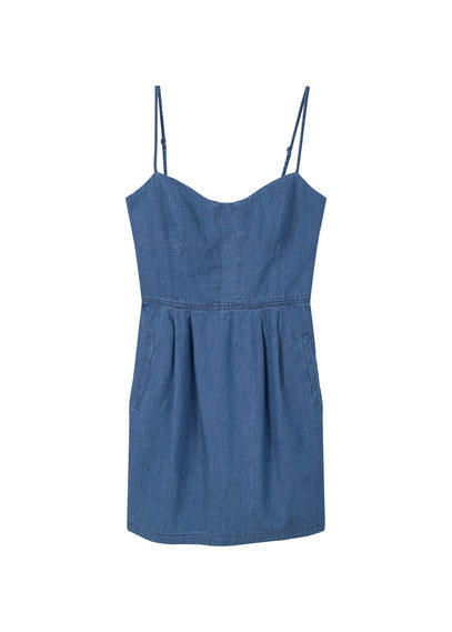 Medium Denim Dress - length: mid thigh; sleeve style: spaghetti straps; pattern: plain; style: sundress; neckline: sweetheart; back detail: back revealing; predominant colour: denim; occasions: casual; fit: fitted at waist & bust; fibres: cotton - 100%; sleeve length: sleeveless; texture group: denim; pattern type: fabric; pattern size: standard; season: s/s 2016; wardrobe: basic