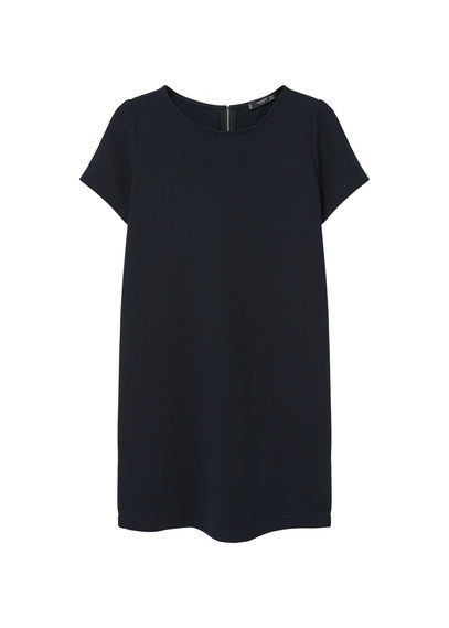 Textured Shift Dress - style: shift; length: mini; neckline: round neck; pattern: plain; predominant colour: black; occasions: evening; fit: straight cut; fibres: polyester/polyamide - 100%; sleeve length: short sleeve; sleeve style: standard; pattern type: fabric; pattern size: standard; texture group: woven light midweight; season: s/s 2016; wardrobe: event