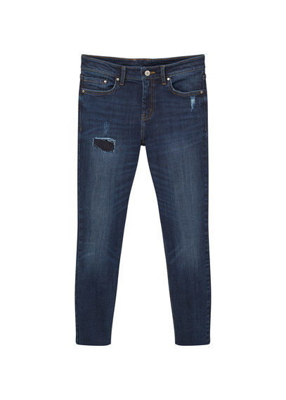 Isa Skinny Jeans - style: skinny leg; length: standard; pattern: plain; pocket detail: traditional 5 pocket; waist: mid/regular rise; predominant colour: navy; occasions: casual; fibres: cotton - stretch; jeans detail: dark wash, rips; texture group: denim; pattern type: fabric; season: s/s 2016