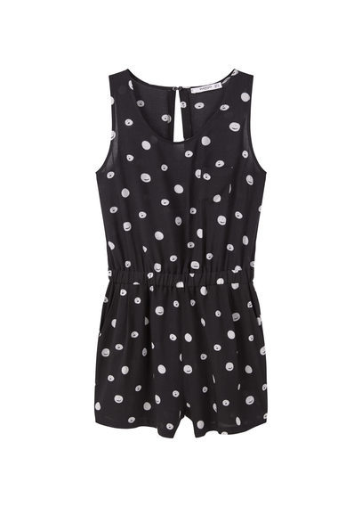 Printed Short Jumpsuit - neckline: round neck; sleeve style: sleeveless; pattern: polka dot; length: short shorts; secondary colour: white; predominant colour: black; occasions: evening; fit: body skimming; fibres: viscose/rayon - 100%; sleeve length: sleeveless; style: playsuit; pattern type: fabric; texture group: jersey - stretchy/drapey; multicoloured: multicoloured; season: s/s 2016; wardrobe: event