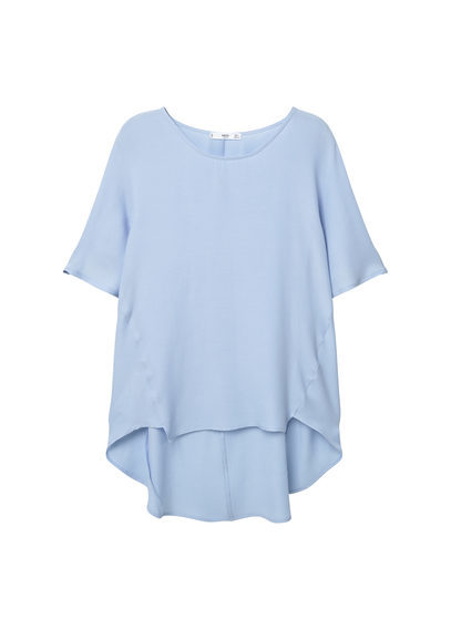 Asymmetric Shirt - neckline: round neck; pattern: plain; predominant colour: pale blue; occasions: casual, creative work; length: standard; style: top; fibres: cotton - stretch; fit: loose; sleeve length: short sleeve; sleeve style: standard; pattern type: fabric; texture group: jersey - stretchy/drapey; season: s/s 2016; wardrobe: highlight