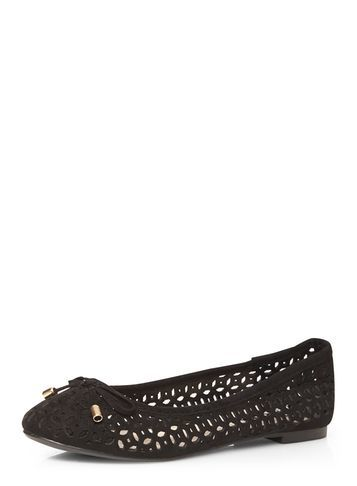 Womens Black 'honey' Laser Cut Pumps Black - predominant colour: black; occasions: casual, creative work; material: fabric; heel height: flat; toe: round toe; style: ballerinas / pumps; finish: plain; pattern: plain; season: s/s 2016; wardrobe: basic