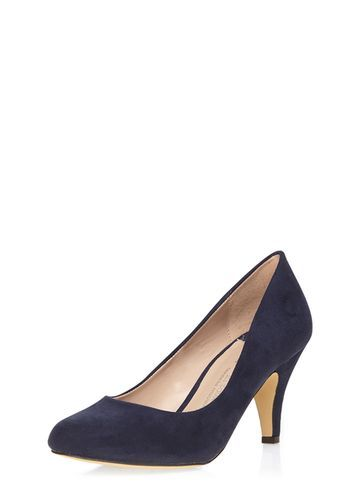 Womens Wide Fit Navy 'wilamina' Mid Court Shoes Blue - predominant colour: navy; occasions: evening, work, occasion; material: suede; heel height: high; heel: cone; toe: pointed toe; style: courts; finish: plain; pattern: plain; season: s/s 2016; wardrobe: investment