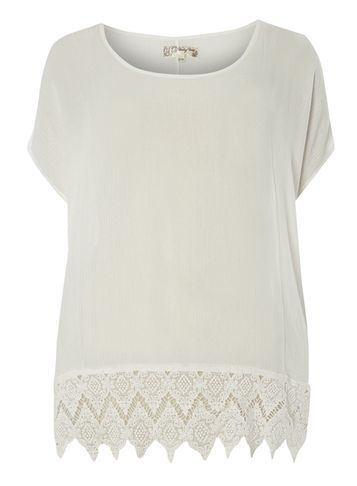 Womens **Voulez Vous White Crochet Hem Boxy Top White - neckline: round neck; pattern: plain; predominant colour: white; occasions: casual; length: standard; style: top; fibres: viscose/rayon - 100%; fit: body skimming; sleeve length: short sleeve; sleeve style: standard; pattern type: fabric; texture group: other - light to midweight; embellishment: lace; season: s/s 2016; wardrobe: highlight