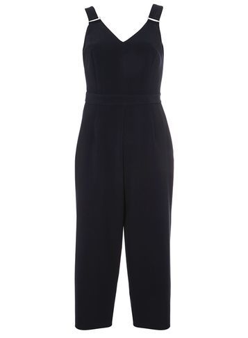 Womens Navy Pinny Jumpsuit Blue - neckline: v-neck; pattern: plain; sleeve style: sleeveless; predominant colour: navy; occasions: evening; length: calf length; fit: body skimming; fibres: polyester/polyamide - mix; sleeve length: sleeveless; texture group: crepes; style: jumpsuit; pattern type: fabric; season: s/s 2016; wardrobe: event