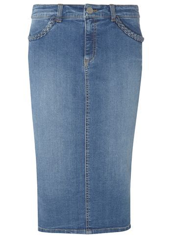 Womens **Tall Plait Denim Skirt Blue - length: below the knee; pattern: plain; style: pencil; fit: tailored/fitted; waist: mid/regular rise; predominant colour: denim; occasions: casual, creative work; fibres: cotton - 100%; texture group: denim; pattern type: fabric; season: s/s 2016; wardrobe: basic