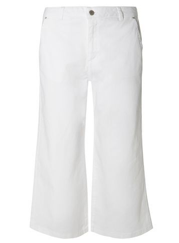 Womens White Denim Culottes White - waist: mid/regular rise; predominant colour: white; occasions: casual; length: calf length; fibres: cotton - stretch; texture group: denim; fit: wide leg; pattern type: fabric; pattern: patterned/print; style: standard; pattern size: standard (bottom); season: s/s 2016; wardrobe: highlight