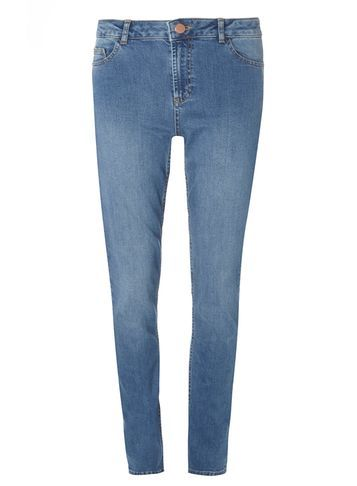 Womens **Tall Midwash Fasion Straight Leg Jeans Blue - style: straight leg; length: standard; pattern: plain; pocket detail: traditional 5 pocket; waist: mid/regular rise; predominant colour: denim; occasions: casual, creative work; fibres: cotton - stretch; jeans detail: shading down centre of thigh; texture group: denim; pattern type: fabric; season: s/s 2016