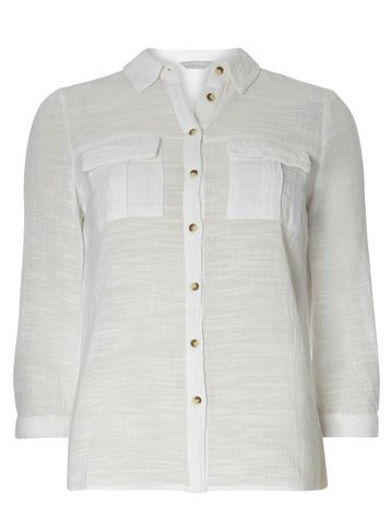Womens Petite Ivory Crinkle Shirt White - neckline: shirt collar/peter pan/zip with opening; pattern: plain; style: shirt; predominant colour: ivory/cream; occasions: casual; length: standard; fibres: cotton - 100%; fit: body skimming; sleeve length: long sleeve; sleeve style: standard; texture group: cotton feel fabrics; pattern type: fabric; season: s/s 2016; wardrobe: basic
