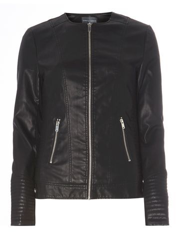 Womens **Tall Faux Leather Jacket Black - pattern: plain; style: biker; collar: round collar/collarless; predominant colour: black; occasions: casual, creative work; length: standard; fit: tailored/fitted; sleeve length: long sleeve; sleeve style: standard; texture group: leather; collar break: high; pattern type: fabric; fibres: pvc/polyurethene - 100%; season: s/s 2016; wardrobe: basic