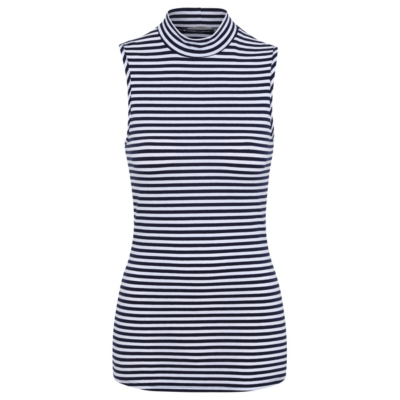 Striped Sleeveless Polo Top Navy - pattern: horizontal stripes; sleeve style: sleeveless; neckline: roll neck; secondary colour: white; predominant colour: navy; occasions: casual; length: standard; style: top; fibres: cotton - stretch; fit: tight; sleeve length: sleeveless; texture group: jersey - clingy; pattern type: fabric; multicoloured: multicoloured; season: s/s 2016; wardrobe: basic