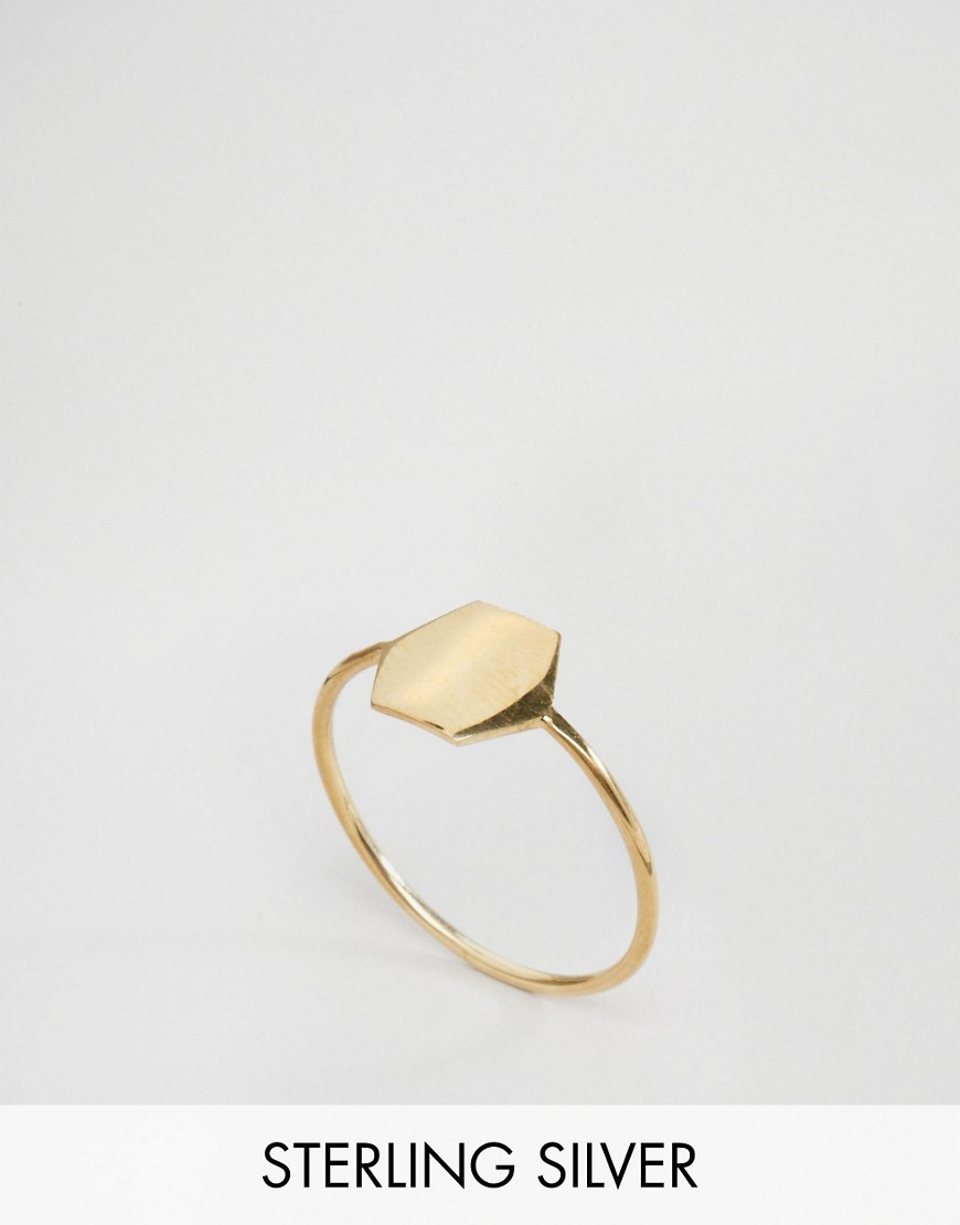 Gold Plated Sterling Silver Plated Hexagon Ring Gold - predominant colour: gold; occasions: casual, work, creative work; style: band; size: standard; material: chain/metal; finish: metallic; season: s/s 2016; wardrobe: basic