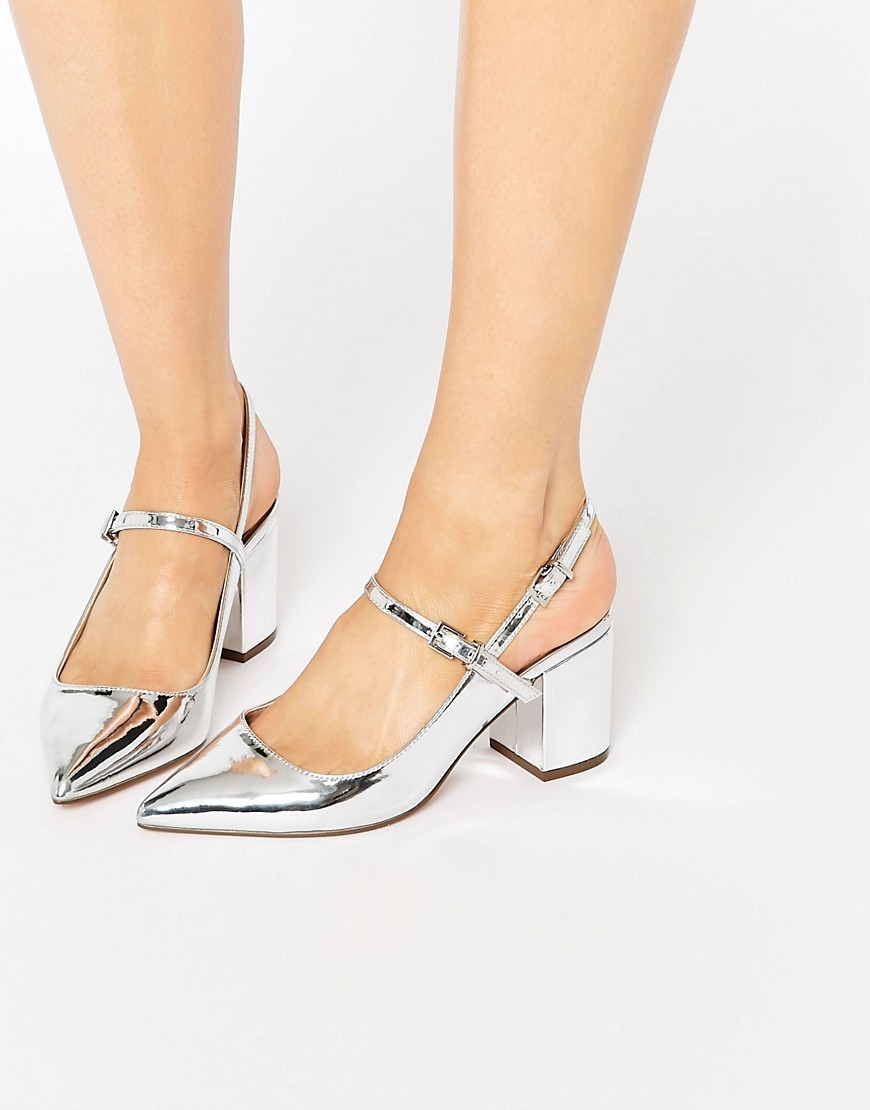 Sensor Pointed Heels Silver - predominant colour: silver; occasions: evening, occasion, creative work; material: faux leather; heel height: mid; heel: block; toe: pointed toe; style: mary janes; finish: metallic; pattern: plain; season: s/s 2016