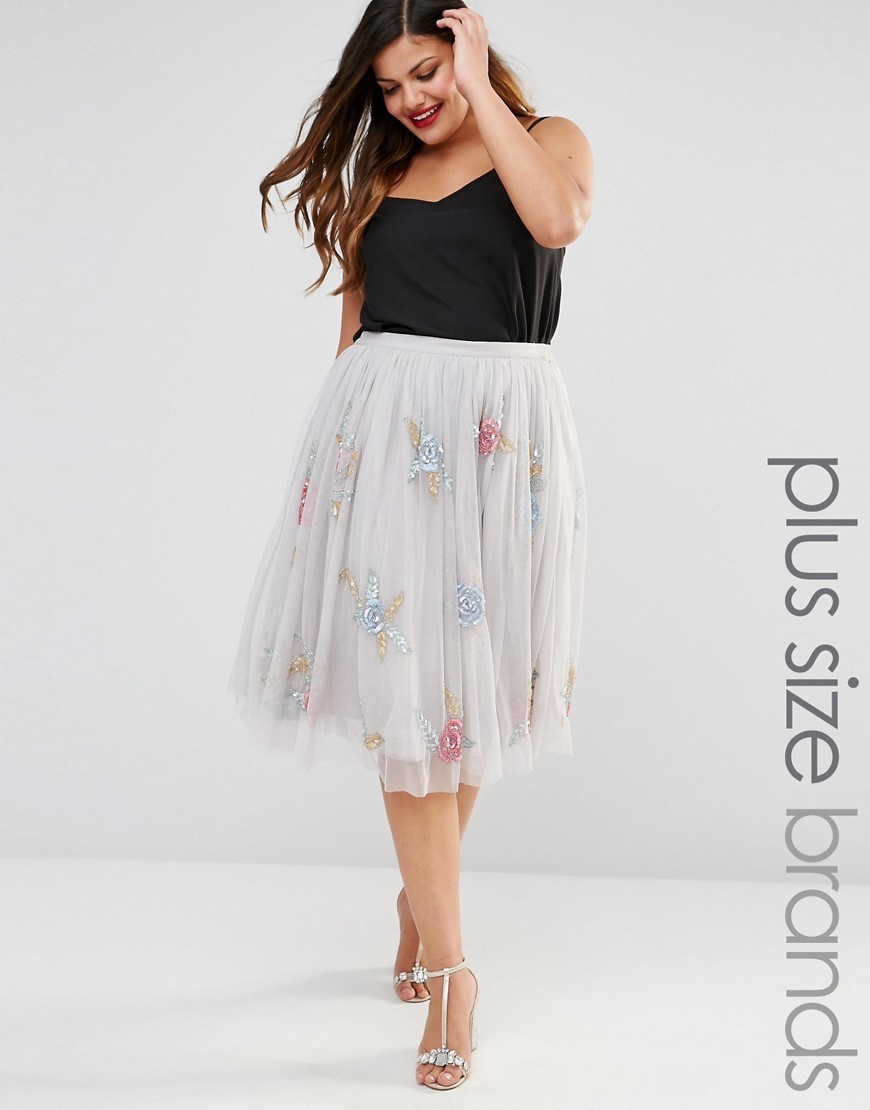 All Over Rose Embellished Full Prom Skirt Grey - length: below the knee; fit: loose/voluminous; style: pleated; waist: high rise; predominant colour: ivory/cream; occasions: casual, occasion; fibres: polyester/polyamide - mix; pattern type: fabric; pattern: patterned/print; texture group: other - light to midweight; pattern size: light/subtle (bottom); season: s/s 2016