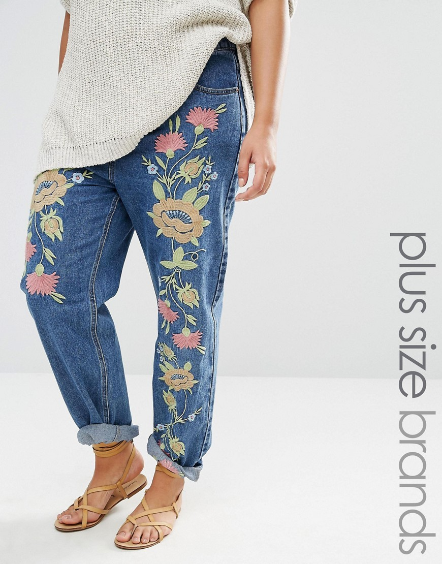 Boyfriend Jean With Floral Embroidery Blue - style: boyfriend; length: standard; pocket detail: traditional 5 pocket; waist: mid/regular rise; predominant colour: denim; secondary colour: primrose yellow; occasions: casual; fibres: cotton - 100%; texture group: denim; pattern type: fabric; pattern: florals; embellishment: embroidered; multicoloured: multicoloured; season: s/s 2016; wardrobe: highlight; embellishment location: pattern