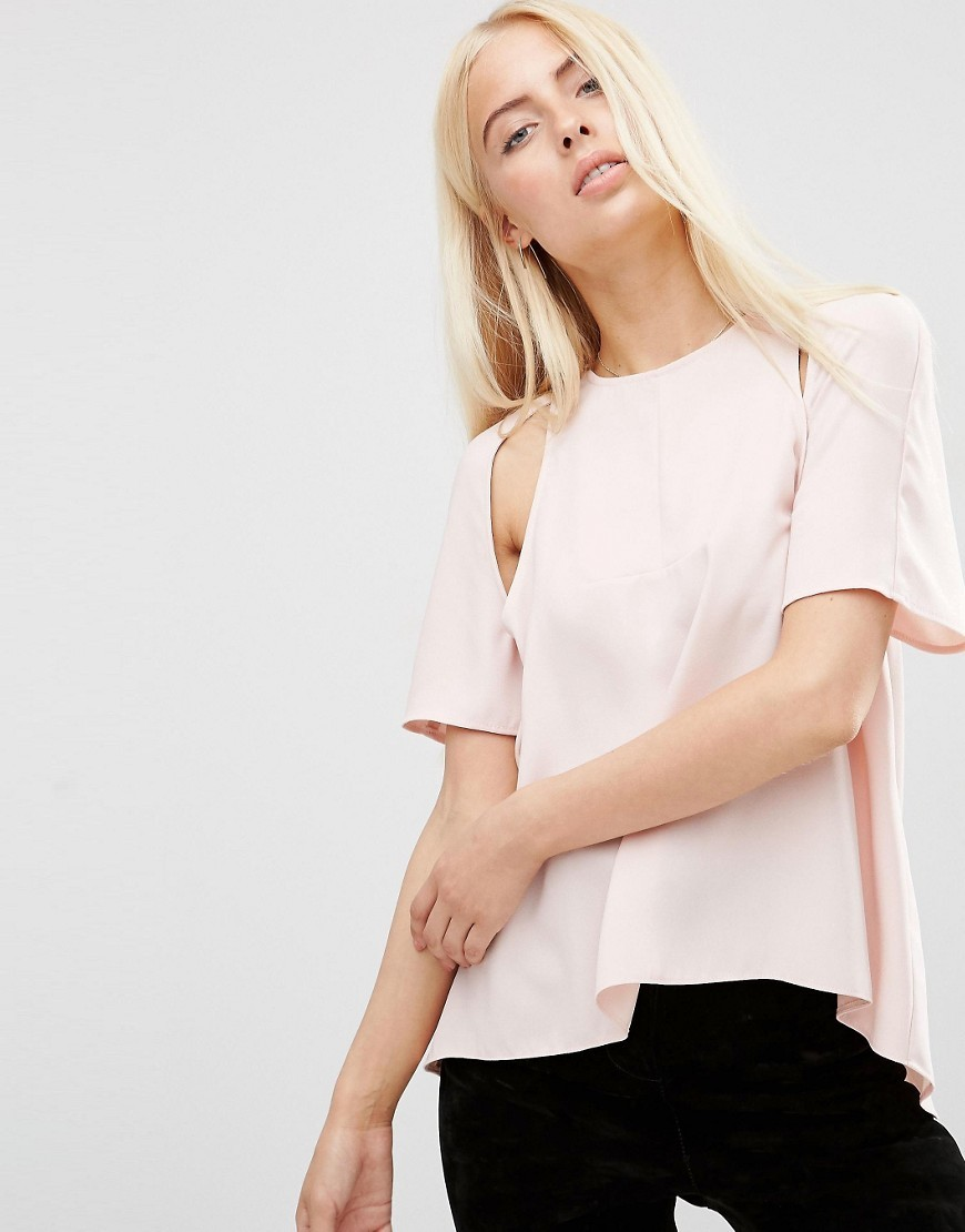 Cut Out Detail Tee Pink - pattern: plain; style: t-shirt; predominant colour: blush; occasions: casual; length: standard; fibres: polyester/polyamide - 100%; fit: body skimming; neckline: crew; shoulder detail: cut out shoulder; sleeve length: short sleeve; sleeve style: standard; pattern type: fabric; texture group: other - light to midweight; season: s/s 2016; wardrobe: highlight