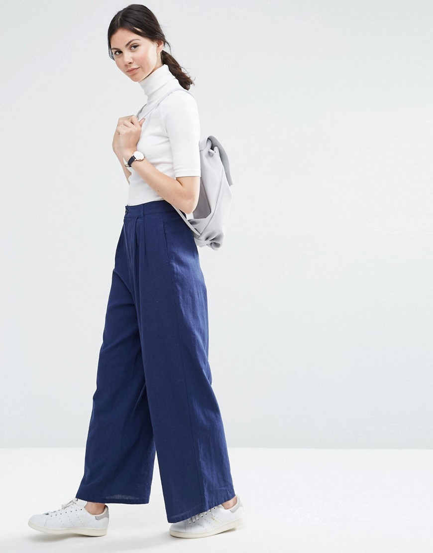 Textured Slouch Wide Leg Trousers Navy - length: standard; pattern: plain; style: palazzo; waist: high rise; predominant colour: navy; occasions: casual, creative work; fibres: linen - mix; texture group: denim; fit: wide leg; pattern type: fabric; season: s/s 2016; wardrobe: basic