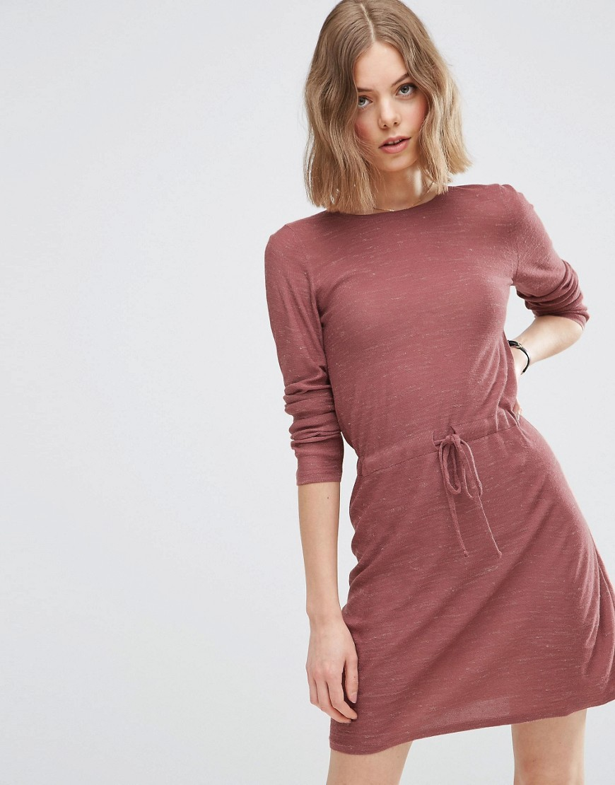Lounge Dress In Knit With Tie Waist Detail Blush - style: shift; length: mid thigh; pattern: polka dot; occasions: casual; fit: body skimming; fibres: linen - mix; neckline: crew; sleeve length: 3/4 length; sleeve style: standard; pattern type: fabric; texture group: jersey - stretchy/drapey; predominant colour: dusky pink; season: s/s 2016