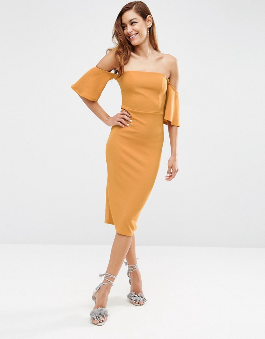Fluted Sleeve Midi Dress In Texture Mustard - length: below the knee; neckline: off the shoulder; sleeve style: angel/waterfall; fit: tight; pattern: plain; style: bodycon; hip detail: draws attention to hips; predominant colour: mustard; occasions: evening, occasion; fibres: polyester/polyamide - stretch; sleeve length: half sleeve; pattern type: fabric; texture group: jersey - stretchy/drapey; season: s/s 2016; wardrobe: event