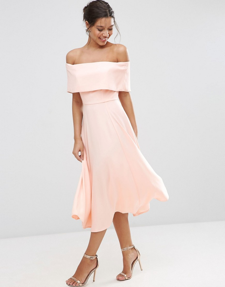 Soft Off The Shoulder Bardot Midi Prom Dress Nude - length: calf length; neckline: off the shoulder; pattern: plain; predominant colour: nude; occasions: evening, occasion; fit: fitted at waist & bust; style: fit & flare; fibres: polyester/polyamide - 100%; sleeve length: short sleeve; sleeve style: standard; texture group: crepes; pattern type: fabric; season: s/s 2016; wardrobe: event