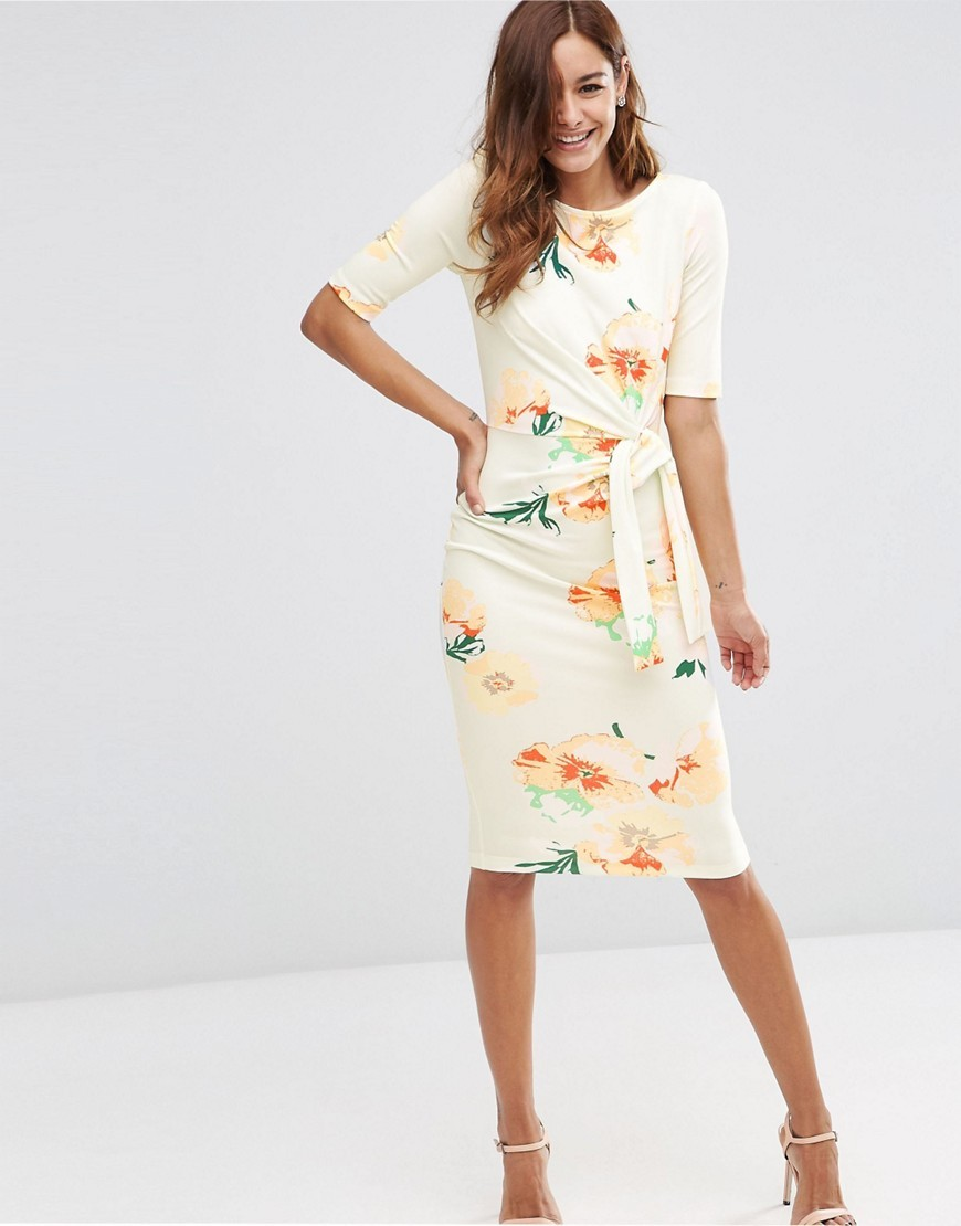 Midi Pencil Dress With Knot Detail In Floral Print Multi - fit: tight; style: bodycon; waist detail: belted waist/tie at waist/drawstring; predominant colour: white; secondary colour: coral; occasions: evening; length: on the knee; fibres: polyester/polyamide - stretch; neckline: crew; sleeve length: half sleeve; sleeve style: standard; texture group: jersey - clingy; pattern type: fabric; pattern: florals; multicoloured: multicoloured; season: s/s 2016; wardrobe: event