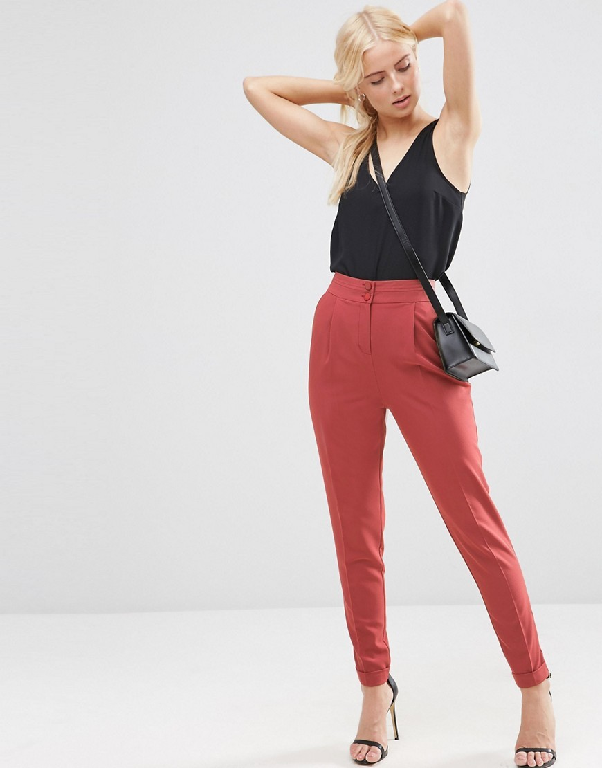 Tailored High Waisted Trousers With Turn Up Detail Dark Coral - length: standard; pattern: plain; style: peg leg; waist: high rise; predominant colour: terracotta; occasions: casual; fibres: polyester/polyamide - stretch; fit: tapered; pattern type: fabric; texture group: woven light midweight; season: s/s 2016; wardrobe: highlight
