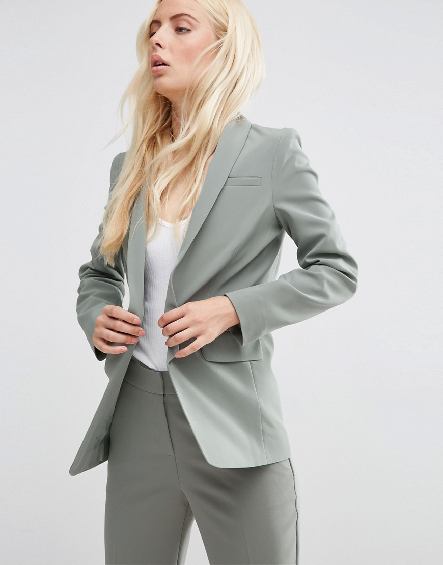 Premium Tailored Edge To Edge Blazer Sage - pattern: plain; style: single breasted blazer; collar: standard lapel/rever collar; predominant colour: mid grey; occasions: work, creative work; length: standard; fit: tailored/fitted; fibres: polyester/polyamide - mix; sleeve length: long sleeve; sleeve style: standard; collar break: medium; pattern type: fabric; texture group: other - light to midweight; season: s/s 2016; wardrobe: investment
