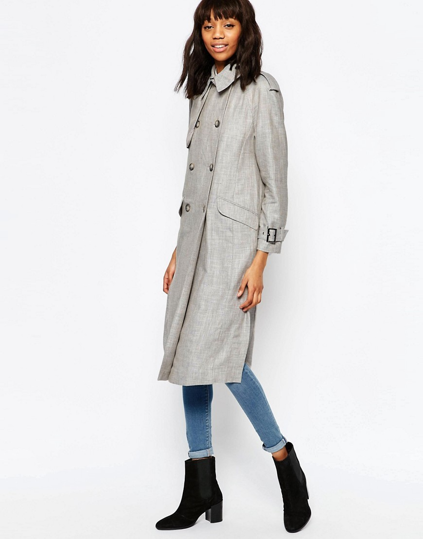 Trench Coat In Linen Light Grey - pattern: plain; style: double breasted; length: on the knee; predominant colour: light grey; occasions: casual, creative work; fit: straight cut (boxy); fibres: cotton - mix; collar: shirt collar/peter pan/zip with opening; sleeve length: long sleeve; sleeve style: standard; texture group: cotton feel fabrics; collar break: high; pattern type: fabric; season: s/s 2016