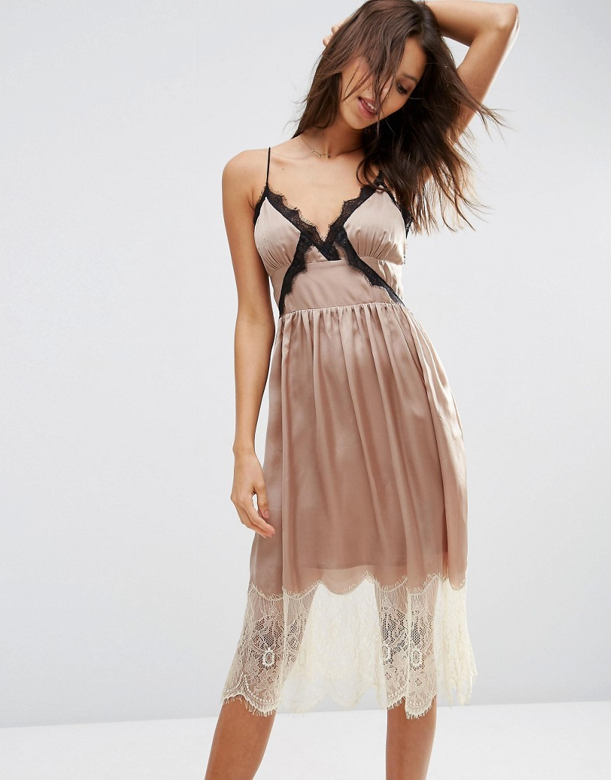 Satin Cami Midi Dress With Contrast Lace Mink - length: calf length; neckline: low v-neck; sleeve style: spaghetti straps; pattern: plain; secondary colour: white; predominant colour: blush; occasions: evening; fit: body skimming; style: slip dress; fibres: viscose/rayon - 100%; sleeve length: sleeveless; pattern type: fabric; texture group: other - light to midweight; embellishment: lace; multicoloured: multicoloured; season: s/s 2016; wardrobe: event; embellishment location: trim