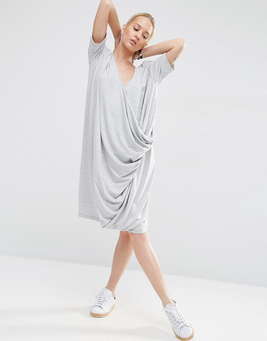 V Neck Dress With Drape Detail Grey - style: faux wrap/wrap; neckline: v-neck; fit: loose; pattern: plain; predominant colour: light grey; occasions: casual; length: on the knee; fibres: polyester/polyamide - stretch; sleeve length: short sleeve; sleeve style: standard; pattern type: fabric; texture group: jersey - stretchy/drapey; season: s/s 2016; wardrobe: basic