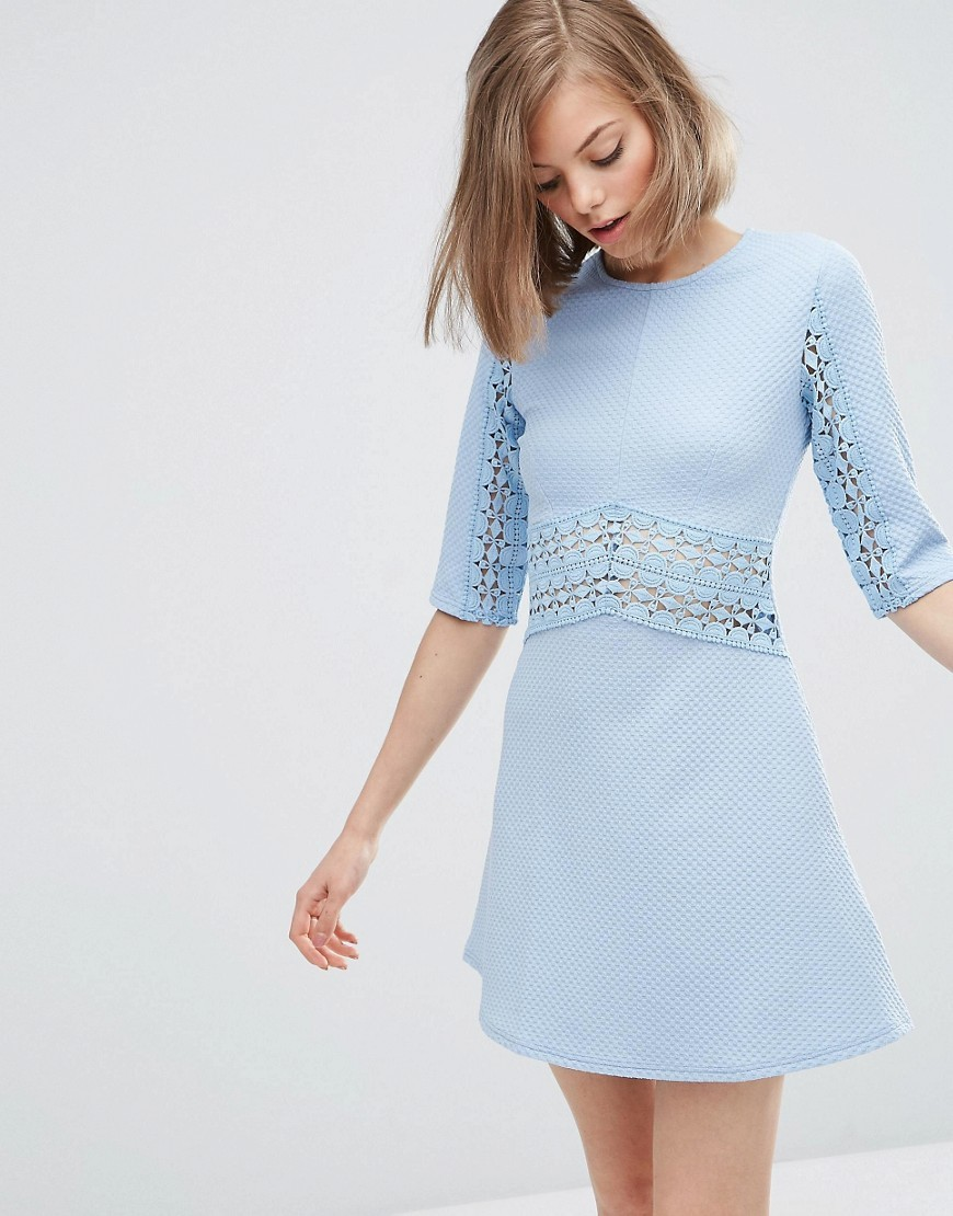 Lace Insert Skater Dress Pale Blue - style: shift; length: mid thigh; pattern: plain; predominant colour: pale blue; occasions: casual, evening; fit: soft a-line; fibres: polyester/polyamide - stretch; neckline: crew; sleeve length: 3/4 length; sleeve style: standard; texture group: cotton feel fabrics; pattern type: fabric; season: s/s 2016; wardrobe: highlight