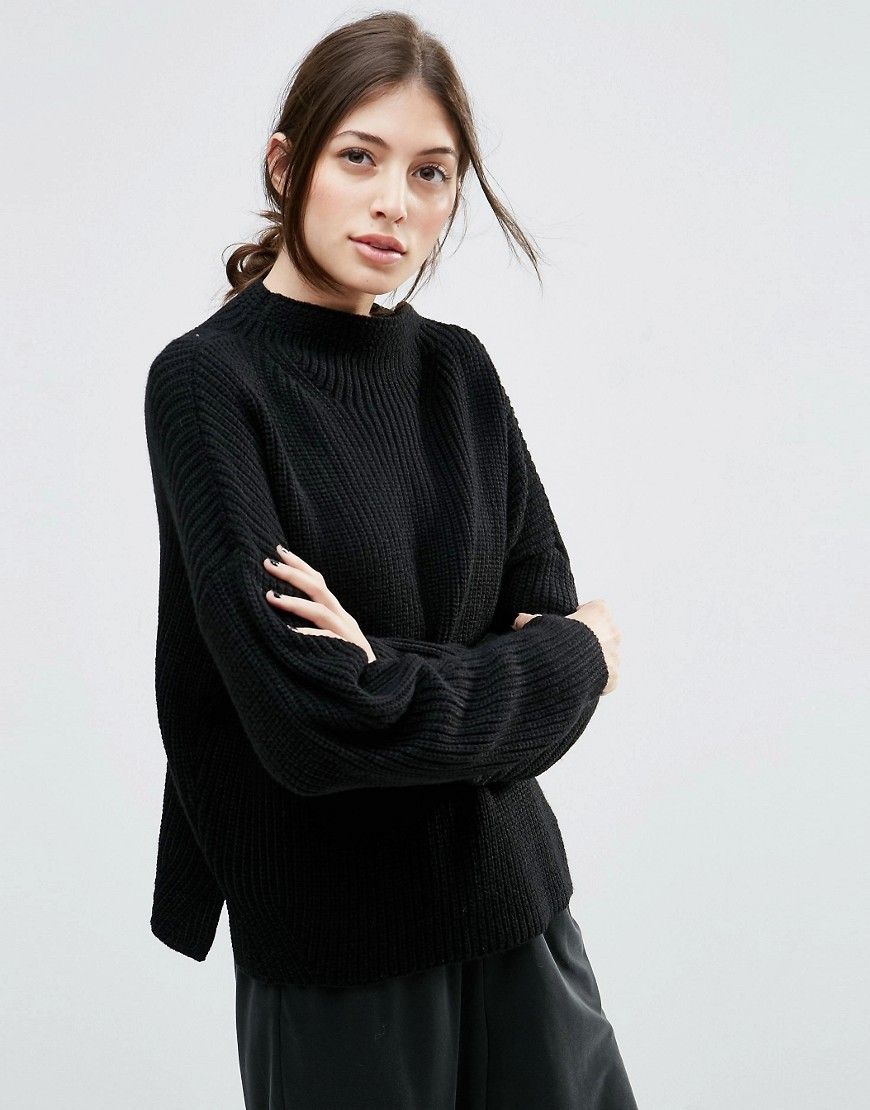 Ultimate Chunky Jumper With High Neck Black - pattern: plain; neckline: high neck; style: standard; predominant colour: black; occasions: casual; length: standard; fibres: acrylic - 100%; fit: loose; sleeve length: long sleeve; sleeve style: standard; texture group: knits/crochet; pattern type: fabric; season: s/s 2016; wardrobe: basic