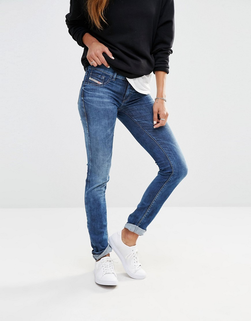 Livier Low Waist Super Skinny Washed Blue - style: skinny leg; length: standard; pattern: plain; pocket detail: traditional 5 pocket; waist: mid/regular rise; predominant colour: navy; occasions: casual; fibres: cotton - stretch; jeans detail: whiskering; texture group: denim; pattern type: fabric; season: s/s 2016; wardrobe: basic