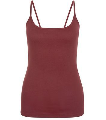 Burgundy Scoop Neck Cami - sleeve style: spaghetti straps; pattern: plain; style: camisole; predominant colour: burgundy; occasions: casual; length: standard; neckline: scoop; fibres: cotton - 100%; fit: body skimming; sleeve length: sleeveless; texture group: cotton feel fabrics; pattern type: fabric; season: s/s 2016