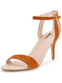Kollude Two Part Sandal - predominant colour: tan; occasions: evening; material: faux leather; heel height: mid; ankle detail: ankle strap; heel: standard; style: strappy; finish: plain; pattern: plain; toe: caged; season: s/s 2016