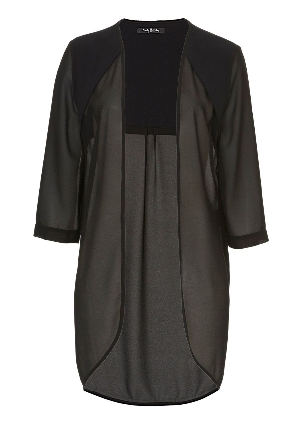 Sheer Blouse With Three Quarter Sleeves, Black - pattern: plain; length: below the bottom; neckline: collarless open; style: open front; predominant colour: black; occasions: evening; fibres: polyester/polyamide - 100%; fit: loose; sleeve length: 3/4 length; sleeve style: standard; pattern type: fabric; texture group: other - light to midweight; season: s/s 2016