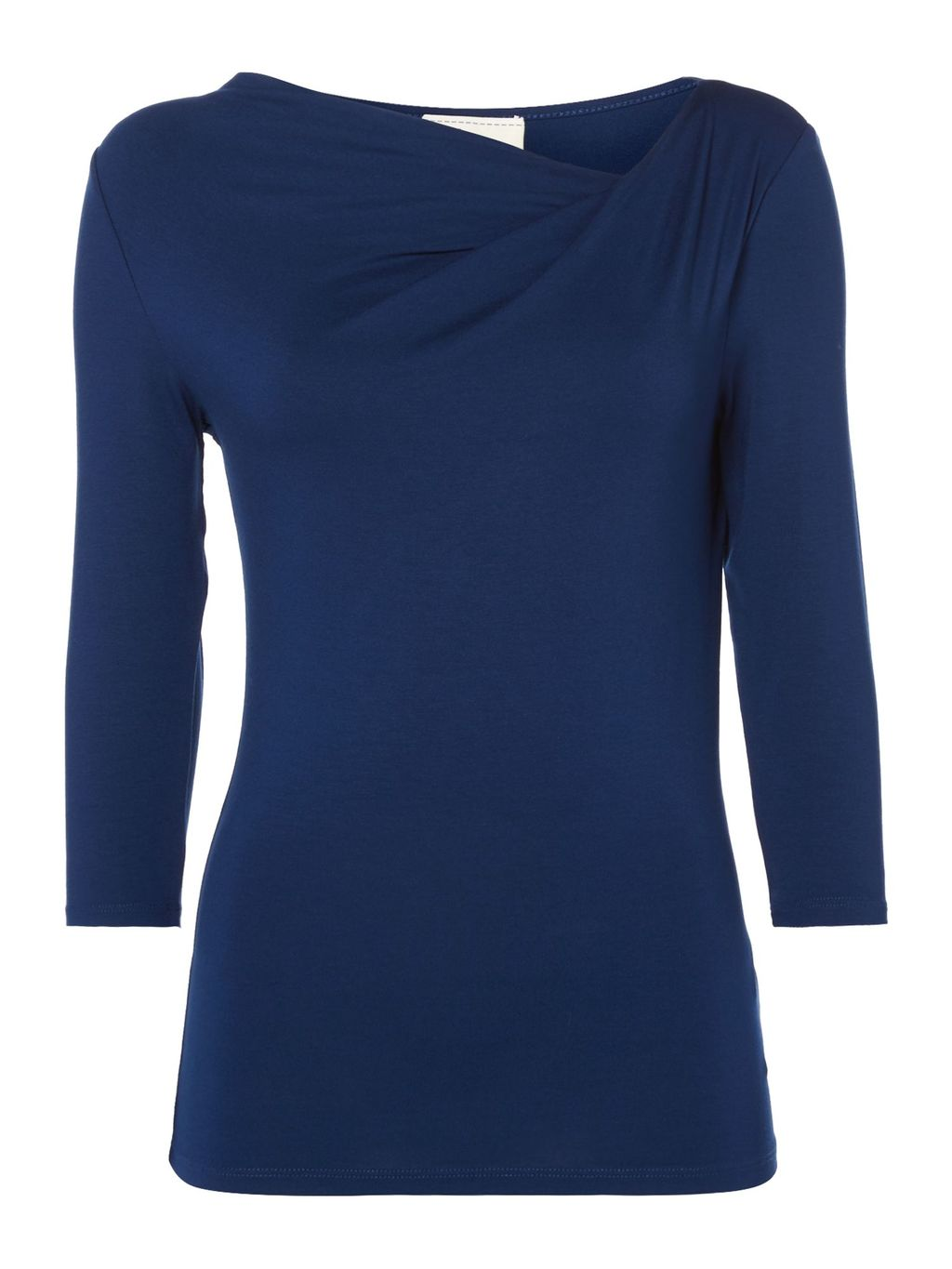 Twist Cowl 3/4 Sleeve Jersey Top, Blue - pattern: plain; style: t-shirt; neckline: asymmetric; predominant colour: navy; occasions: casual; length: standard; fibres: cotton - stretch; fit: body skimming; sleeve length: 3/4 length; sleeve style: standard; texture group: jersey - clingy; pattern type: fabric; season: s/s 2016; wardrobe: basic