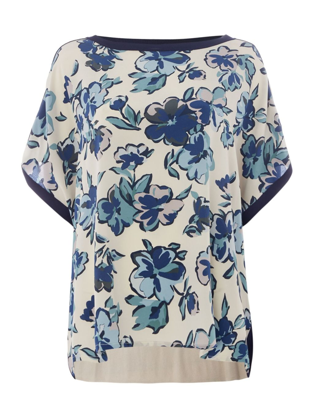 Fresis Long Sleeve Floral Print Top, Ivory - neckline: slash/boat neckline; sleeve style: dolman/batwing; style: t-shirt; predominant colour: ivory/cream; secondary colour: navy; occasions: casual, creative work; length: standard; fibres: cotton - stretch; fit: loose; sleeve length: half sleeve; pattern type: fabric; pattern: florals; texture group: jersey - stretchy/drapey; pattern size: big & busy (top); multicoloured: multicoloured; season: s/s 2016; wardrobe: highlight