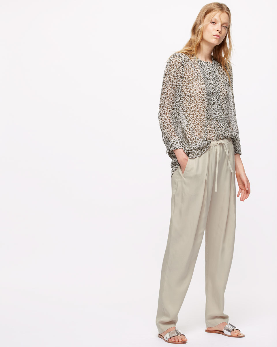Drawstring Tencel Trousers - length: standard; pattern: plain; style: harem/slouch; waist detail: belted waist/tie at waist/drawstring; waist: mid/regular rise; predominant colour: light grey; occasions: casual, creative work; fibres: viscose/rayon - 100%; fit: baggy; pattern type: fabric; texture group: other - light to midweight; season: s/s 2016; wardrobe: highlight