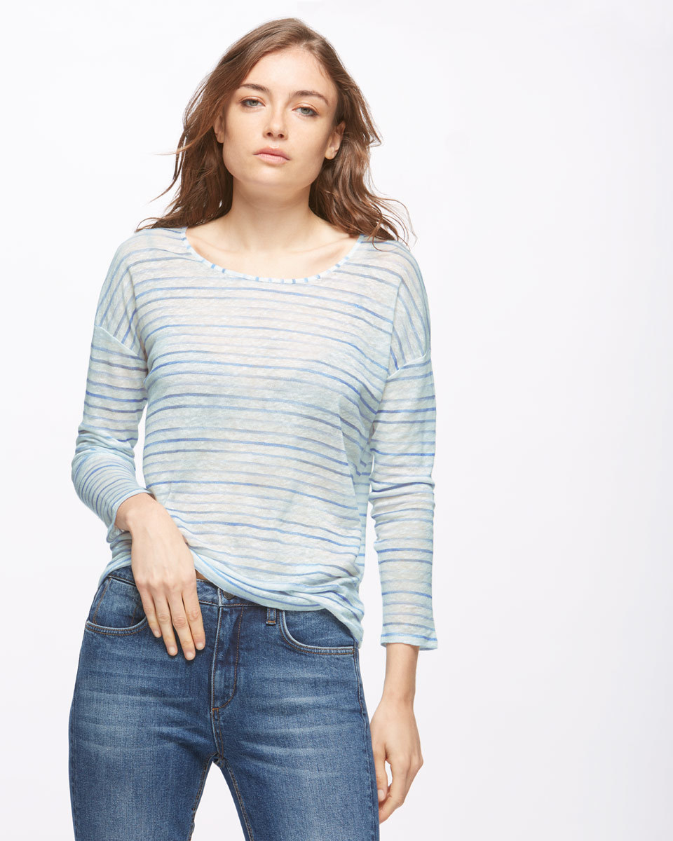 Slouchy Linen Stripe Long Sleeve T Shirt - neckline: round neck; pattern: striped; style: t-shirt; predominant colour: pale blue; occasions: casual, creative work; length: standard; fibres: linen - 100%; fit: body skimming; sleeve length: 3/4 length; sleeve style: standard; texture group: linen; pattern type: fabric; pattern size: standard; season: s/s 2016; wardrobe: highlight