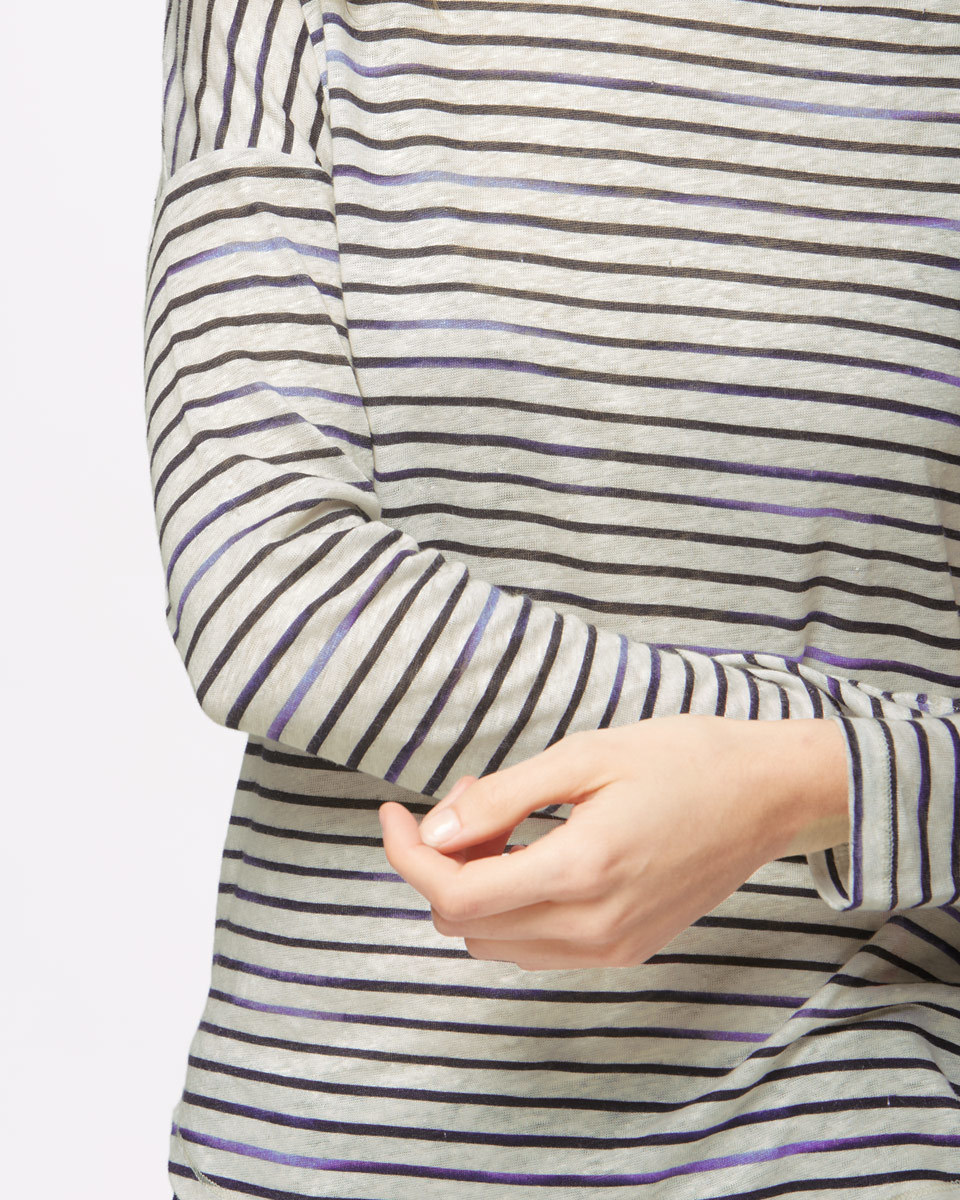 Slouchy Linen Stripe Long Sleeve T Shirt - neckline: round neck; pattern: horizontal stripes; style: t-shirt; predominant colour: black; occasions: casual, creative work; length: standard; fibres: linen - 100%; fit: body skimming; sleeve length: long sleeve; sleeve style: standard; texture group: linen; pattern type: fabric; pattern size: big & busy (top); season: s/s 2016; wardrobe: basic