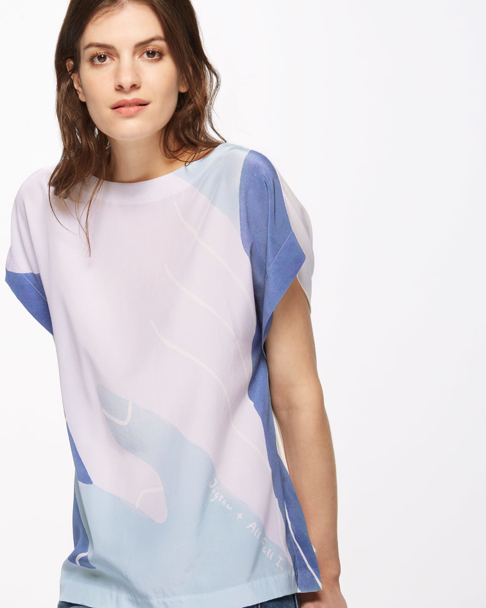 Tessellation Silk Front T Shirt - neckline: round neck; style: t-shirt; predominant colour: white; secondary colour: pale blue; occasions: casual, creative work; length: standard; fibres: silk - 100%; fit: body skimming; sleeve length: short sleeve; sleeve style: standard; texture group: silky - light; pattern type: fabric; pattern size: standard; pattern: colourblock; multicoloured: multicoloured; season: s/s 2016