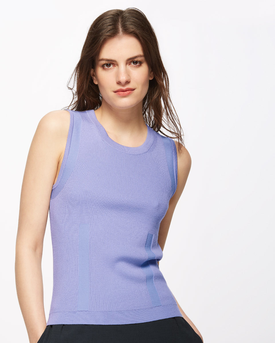 Fine Viscose Wool Rib Tank - neckline: round neck; pattern: plain; sleeve style: sleeveless; predominant colour: pale blue; occasions: casual, creative work; length: standard; style: top; fibres: wool - mix; fit: tight; sleeve length: sleeveless; pattern type: fabric; texture group: other - light to midweight; season: s/s 2016; wardrobe: highlight