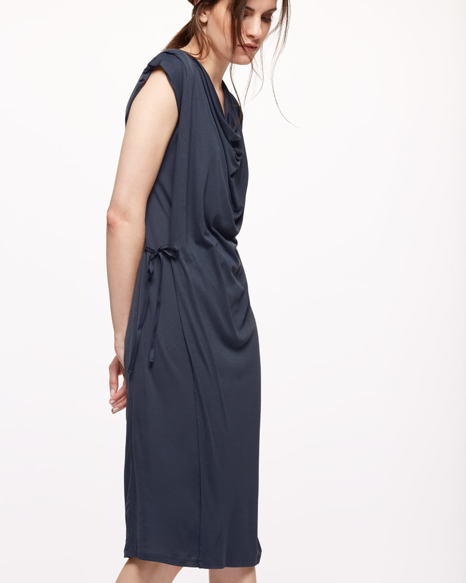 Cap Sleeve Cowl Neck Dress - style: shift; neckline: cowl/draped neck; fit: fitted at waist; pattern: plain; sleeve style: sleeveless; predominant colour: navy; length: on the knee; fibres: viscose/rayon - 100%; sleeve length: sleeveless; pattern type: fabric; texture group: jersey - stretchy/drapey; occasions: creative work; season: s/s 2016; wardrobe: investment