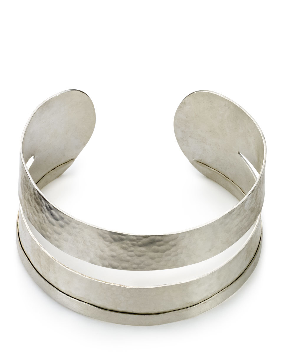 Made Cut Out Hammered Cuff - predominant colour: silver; occasions: evening; style: cuff; size: standard; material: chain/metal; finish: metallic; season: s/s 2016
