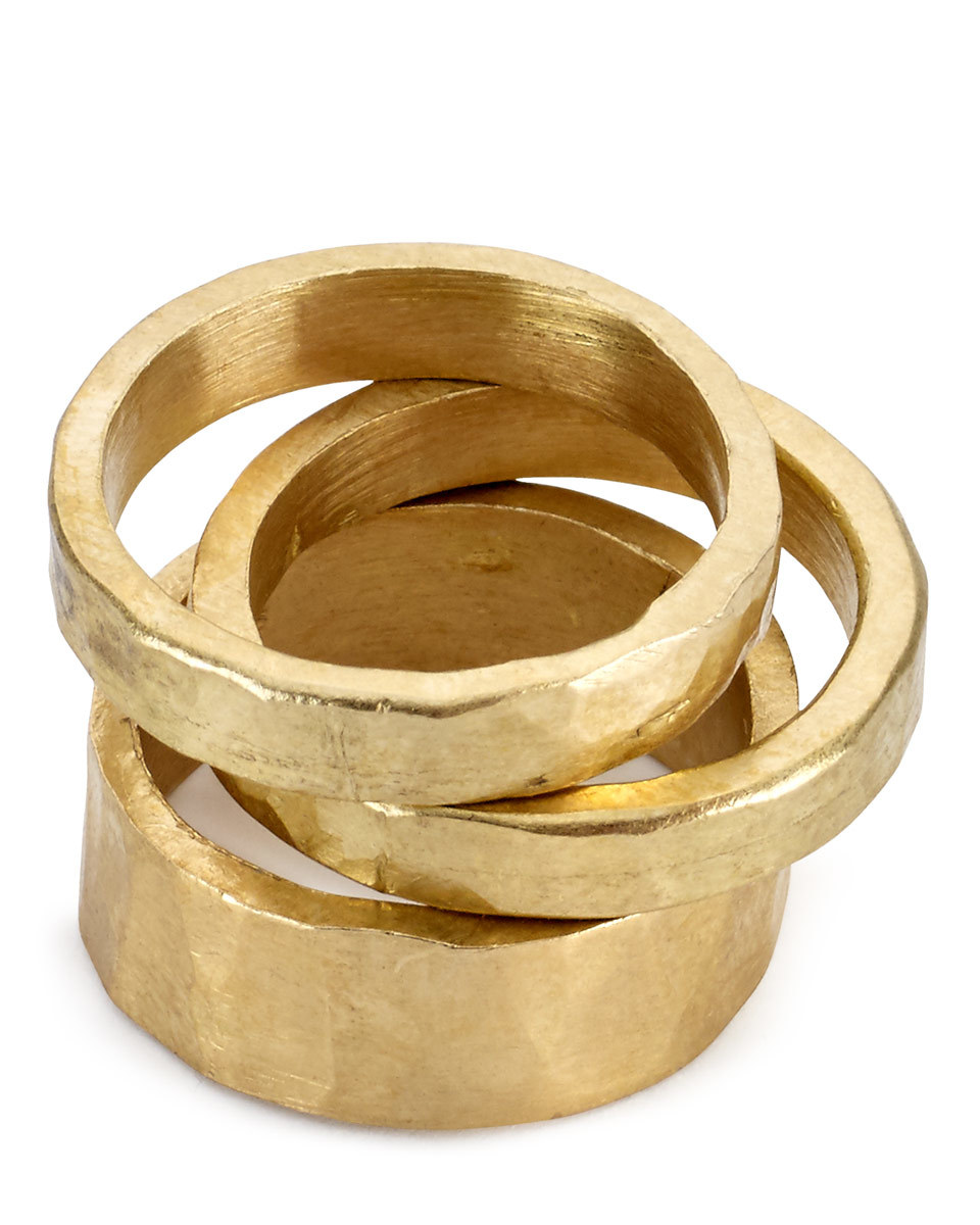 Made Hammered Stack Rings - predominant colour: gold; occasions: evening, occasion; size: standard; material: chain/metal; finish: metallic; season: s/s 2016; style: stack of rings; wardrobe: event