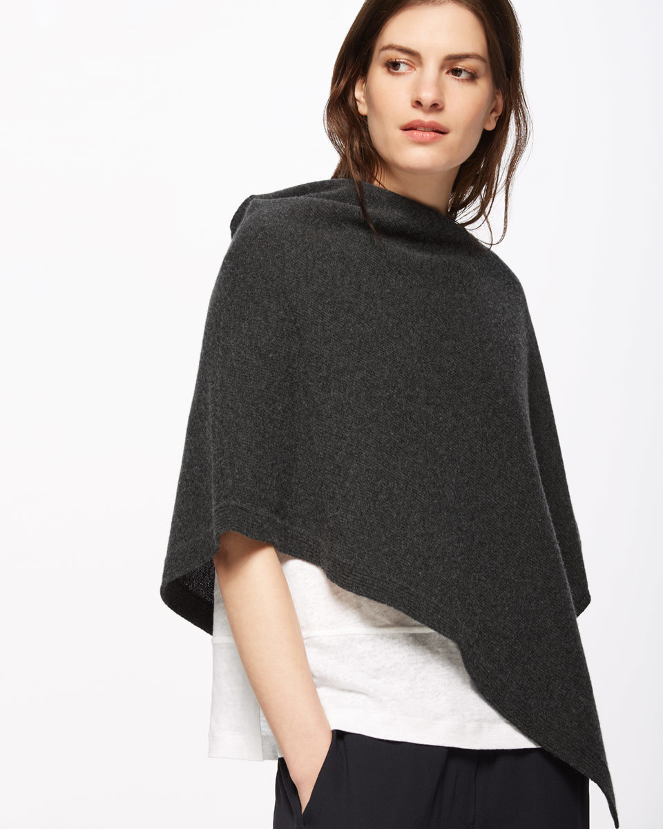 Knitted Ribbed Border Poncho - pattern: plain; neckline: high neck; style: poncho; predominant colour: charcoal; occasions: casual; length: standard; fibres: wool - mix; fit: loose; sleeve length: 3/4 length; texture group: knits/crochet; pattern type: knitted - fine stitch; sleeve style: cape/poncho sleeve; season: s/s 2016; wardrobe: highlight